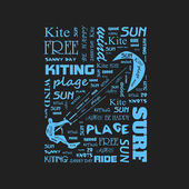 Surfer  t-shirt graphics with kite  poster