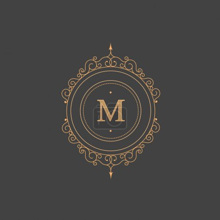 Vintage retro monogram, restaurant, hotel, boutique  Heraldic victorian Design with flourishes elegant elements.  Vector Illustration template.