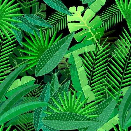 Illustration pour Feuilles de palmier tropical. Modèle sans couture sur fond noir - image libre de droit