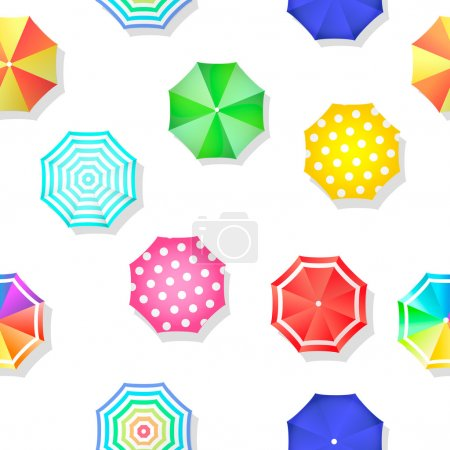 Beach set  of sun umbrellas top view seamless pattern. Vector