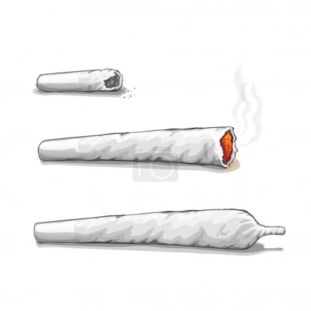 Illustration for Joint or spliff. Drug consumption,  marijuana and smoking drugs. Vector - Royalty Free Image