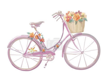 Illustration for Watercolor illustration of a pink  bicycle with flowers, vector - Royalty Free Image