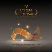 Camera film 35 mm roll gold   festival movie poster Slide film frame vector illustration