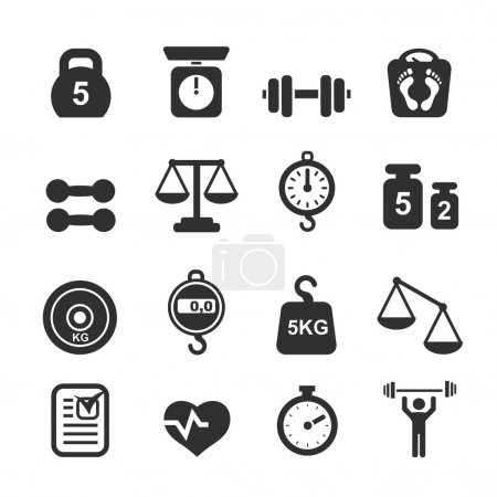 Illustration for Weight icon set - scales, weighing and  balance vector - Royalty Free Image