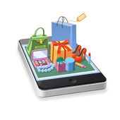 Illustrations mobile online shopping of  woman accessories concept gift boxes pomade shoes bag and cosmetics laying down on smartphone  Vector illustration