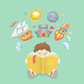 Imagination concept boy  reading a book  rocket flying out ship  castle and  planet vector illustration