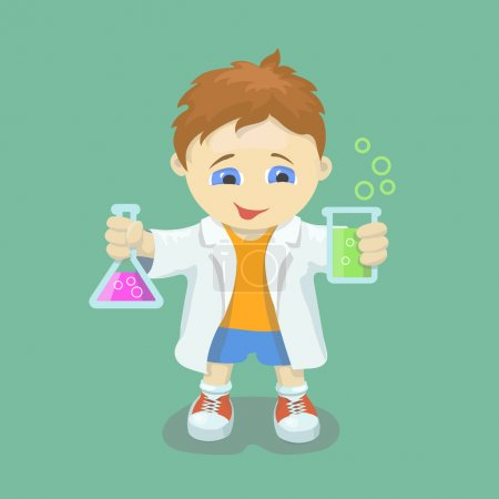 Boy doing chemical experiment. Young scientist. Kid  holding test flask  in hands.