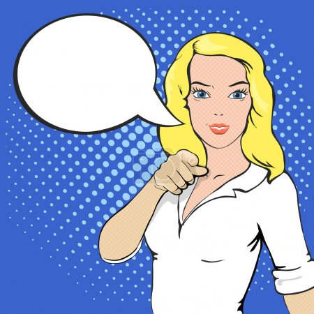 Illustration for Pop Art illustration of girl with the speech bubble and place for text. Comic style woman. Hand pointing finger at viewer  from front vector - Royalty Free Image