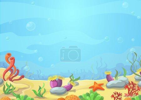 Underwater world blue sea, starfish, vector illustration