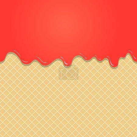 Illustration pour Gaufrettes et fraises fluides chocolat rose, crème ou yaourt - fond vectoriel - image libre de droit