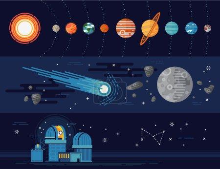 Illustration pour Ensemble de modèles de bannières Web horizontales vectorielles sur la science et l'éducation en astronomie. Planètes du système solaire, corps célestes avec Soleil, Terre et plus encore. Planétarium, objets d'exploration de galaxies au design plat - image libre de droit