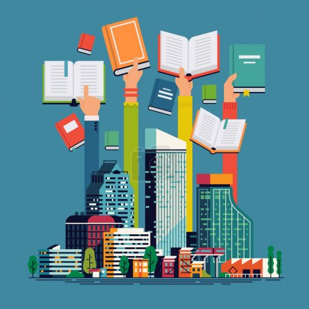 Illustration for Book readers modern concept illustration. Reading city flat concept design with abstract large city and human hands holding opened and closed books. Background, banner or poster template on reading - Royalty Free Image