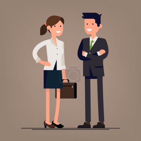 Illustration for Lovely couple of businessmen smiling. Businessman and businesswoman characters standing. Female and male friendly office workers couple - Royalty Free Image