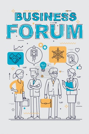 Illustration for Business forum event flat line concept design with office worker characters line up with idea thought bubbles. Linear concept design on business forum, congress, discussion, conference or meeting - Royalty Free Image
