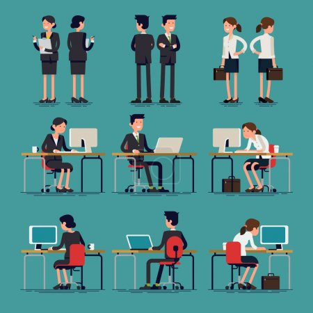 Illustration for Cool flat design corporate business team people standing and sitting behind desk. Office workers, front and rear view. Men and women in sitting and standing poses - Royalty Free Image