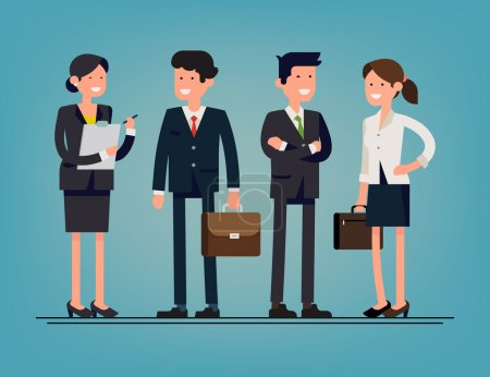 Illustration for Cool flat design corporate business people line-up. Group of office workers standing smiling. Men and women in office wear full length, isolated - Royalty Free Image