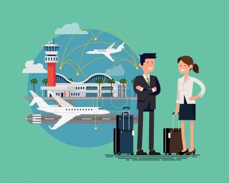 Illustration for Business trip cool flat illustration. Airway travel. Business man and woman ready to board on business jet at airport terminal. Business characters couple with hand luggage standing - Royalty Free Image
