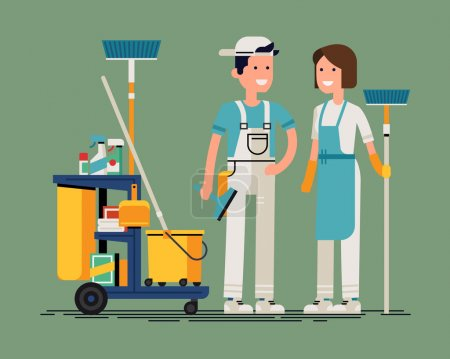 Cool cleaning staff characters