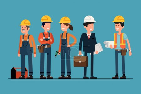 Illustration for Civil engineer, architect and construction workers characters group. Cool vector flat design construction team characters line-up. Group of construction workers in hard hats friendly smiling - Royalty Free Image