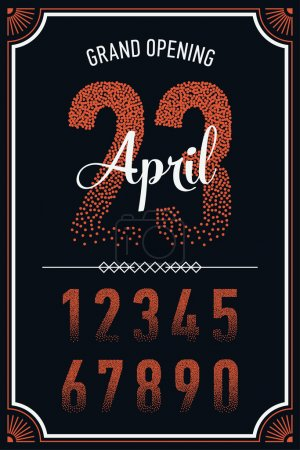 Illustration for Cool set of falling confetti filled numeral figures. Ideal for wall and window decals, transparent stickers. One color fading top to bottom number characters on black background - Royalty Free Image