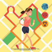 Cool vector fitness route tracking concept illustration with young adult woman running with city map on background | Sport fitness female character running