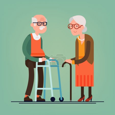 Illustration for Retired elderly senior age couple in creative flat vector character design | Grandpa and grandma standing full length smiling | Grandparents with walking stick and paddle walker - Royalty Free Image