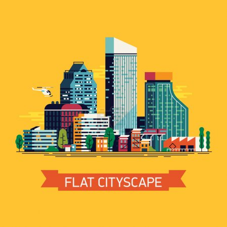 Illustration for Cool vector flat illustration cityscape with downtown houses, commercial buildings and skyscrapers. Urban cityscape with trees - Royalty Free Image