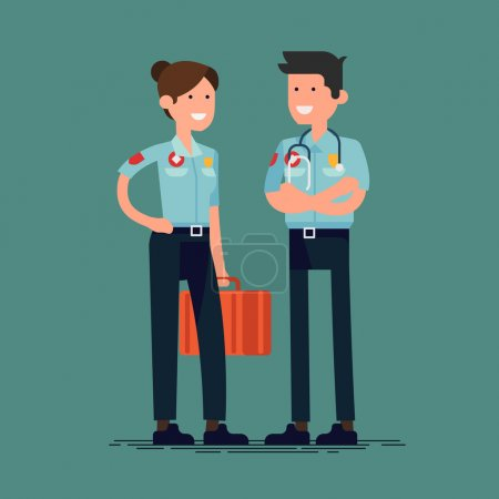 Illustration pour Personnages paramédics vecteurs frais dans la position plate de conception. Professionnels masculins et féminins adultes de soins de santé amis dans des uniformes - image libre de droit