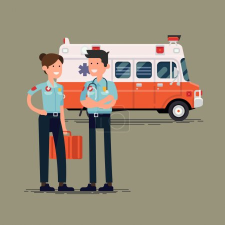 Illustration for Vector paramedic characters standing in front of ambulance vehicle, flat design. Healthcare professionals - Royalty Free Image