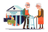 Cool vector pension fund concept illustration with elderly couple standing Senior age man and woman standing with financial institution icon on background | Retirement financial concept illustration