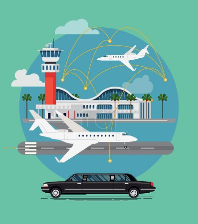 Illustration for Private travel flat vector concept design. Executive airport terminal with private jet and limo vehicle. Luxury flight, private airplane, exclusive service, premium travel illustration - Royalty Free Image
