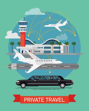 Private travel flat design.