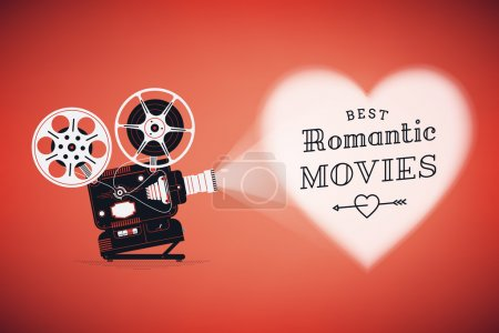 Illustration for Best romantic movies concept illustration with retro movie film projector projecting heart on red background vector illustration - Royalty Free Image