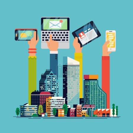 Cool flat Smart City.