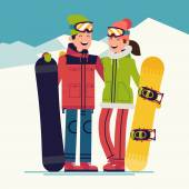 snowboarders adult boy and girl