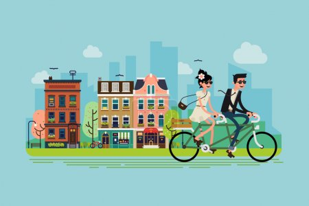 Illustration for Romantic vector concept illustration on couple going outdoors riding bicycle. Young adult couple riding tandem bike with spring green town street on background - Royalty Free Image