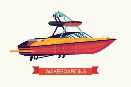 Illustration pour Bateau de remorquage vecteur cool wakeboard. Bateau a moteur sport surface aquatique rouge en mode design plat isolé. Élément de design concept sur wakesurfing bateau avec tour, les conférenciers et les détenteurs de la carte - image libre de droit