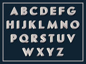 Vector retro looking 3d alphabet Vintage white volumetric sign board letters with shadows on dark background