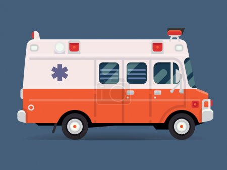 Illustration for Vector modern flat design special vehicle icon on white and red ambulance van, isolated. Emergency paramedic car symbol, side view - Royalty Free Image