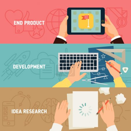 Illustration pour Vector modern creative concept flat design on application development stages, digital media industry, idea research, programming and end product - image libre de droit
