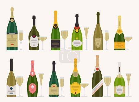 Illustration pour Ensemble vectoriel de différentes bouteilles de champagne avec verres - image libre de droit