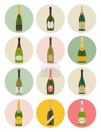Illustration pour Ensemble vectoriel d'icônes de bouteilles de champagne - image libre de droit