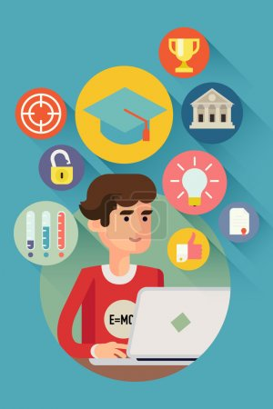 Illustration for Vector modern creative concept design on online education and learning process with student character using his laptop and multiple education icons such as idea, achievement, progress, target and more - Royalty Free Image