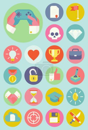 Gamification strategy in business icons.
