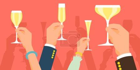 Illustration pour Illustration vectorielle de concept moderne plat sur la célébration et la fête avec plusieurs mains levées tenant différents verres à champagne, applaudissant. Simple événement de célébration d'entreprise fond - image libre de droit