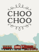 Vector template decorated with vintage looking train running by steam engine Steam locomotive template