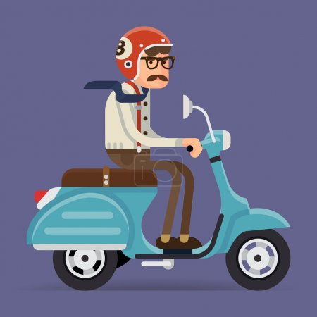 Man riding vintage moped