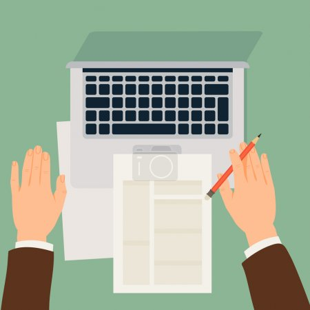 Illustration for Vector modern flat design illustration on male hands working with paper documents and laptop, top view - Royalty Free Image