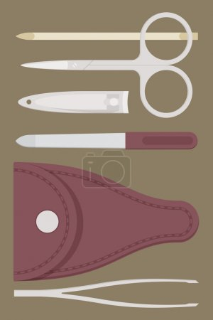 Illustration for Vector flat manicure tools set with leather case. Pocket set of manicure items - Royalty Free Image