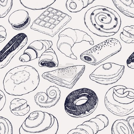Photo for Vector hand drawn pastries seamless pattern featuring croissant, belgian waffle, eclair, cinnamon roll, macaron and more. Sweet bakery products set wrapping paper vector seamless bright pattern - Royalty Free Image